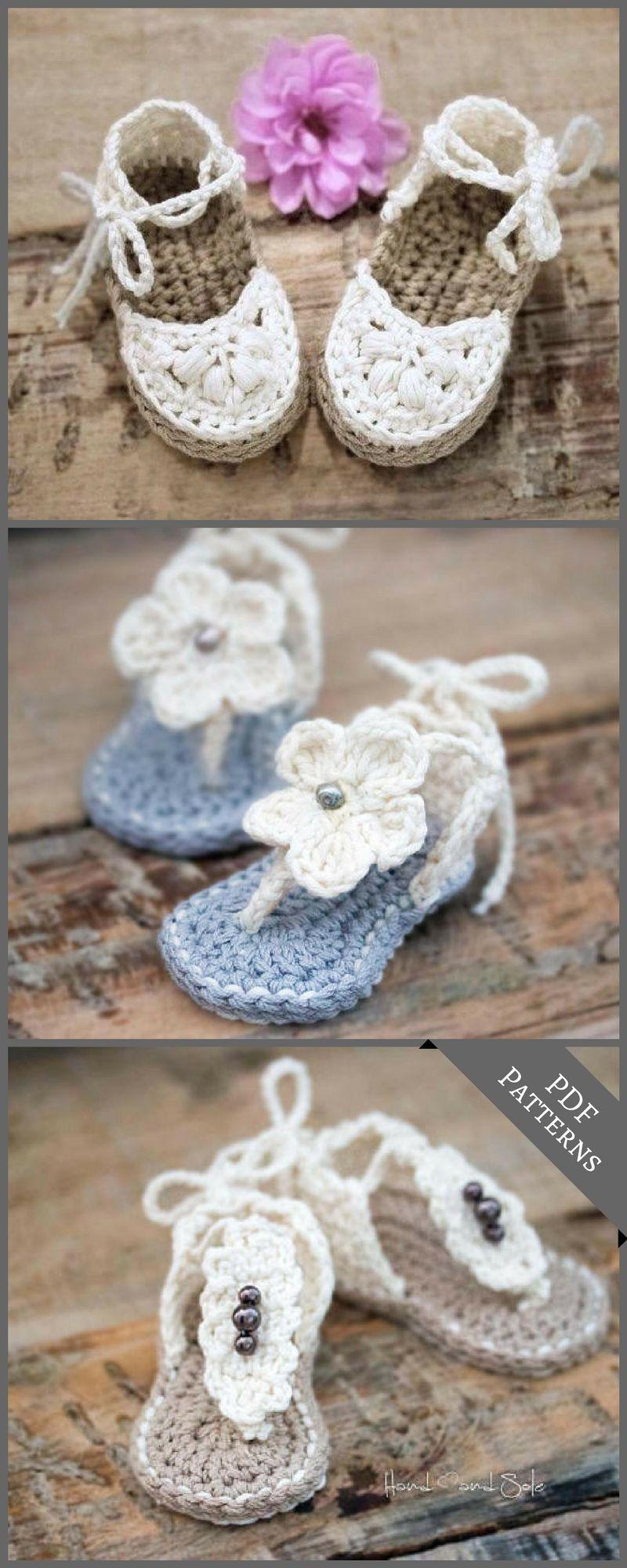 Cute crochet pattern for sandals for little feet. #Etsy #TLad