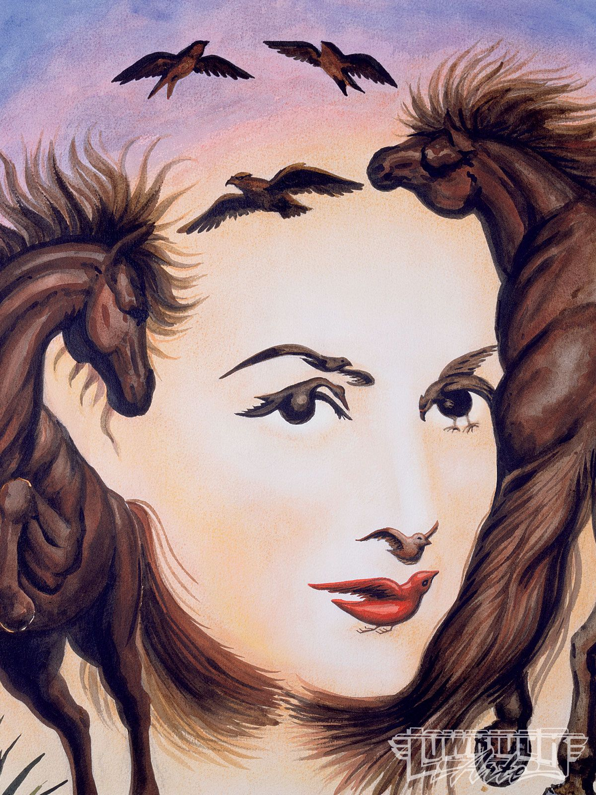 Nature Paintings And Portraits Of Women In Single 6 Illusions