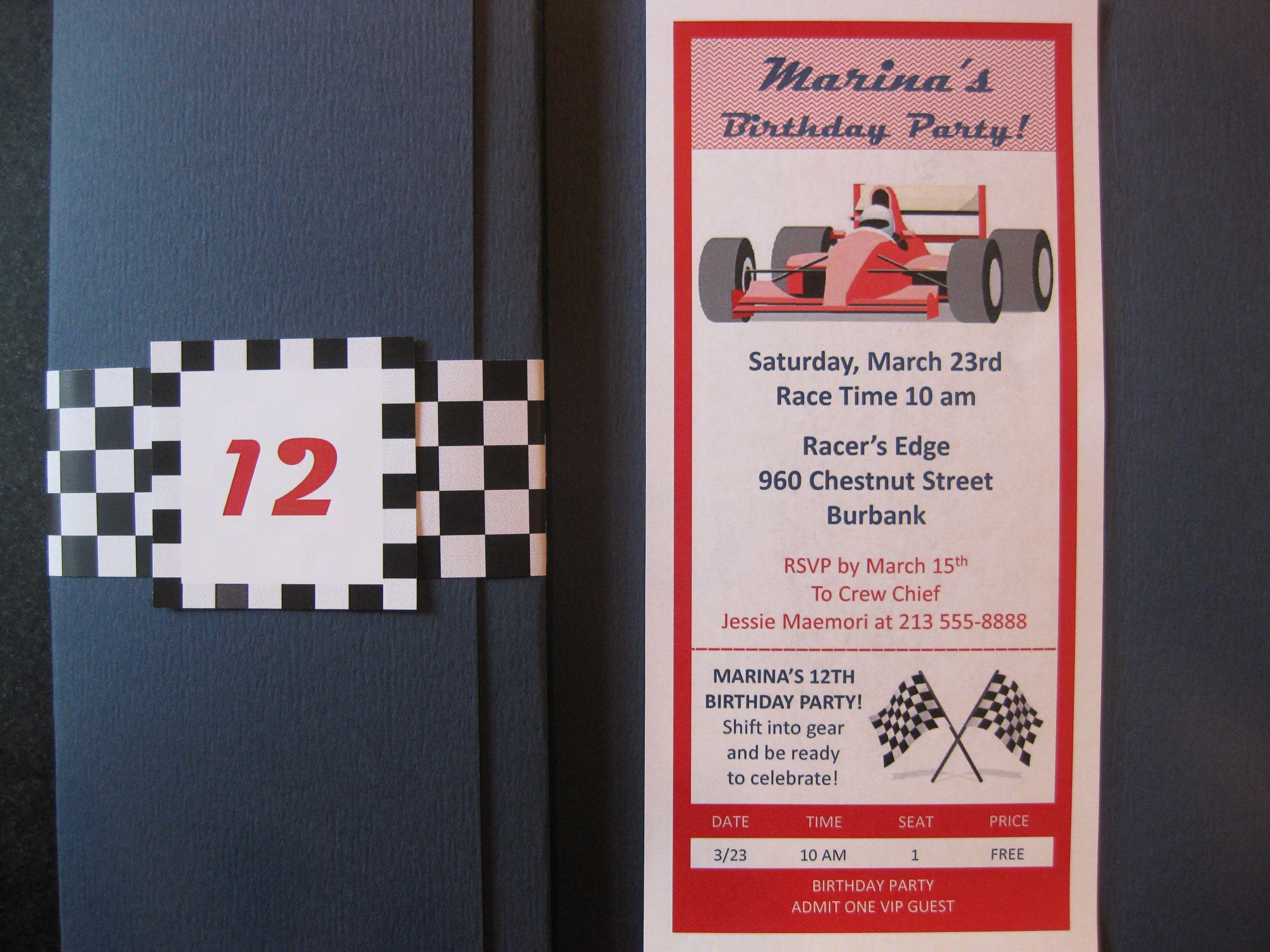 Go Kart Birthday Party Invitation Go Kart Birthday Pinterest