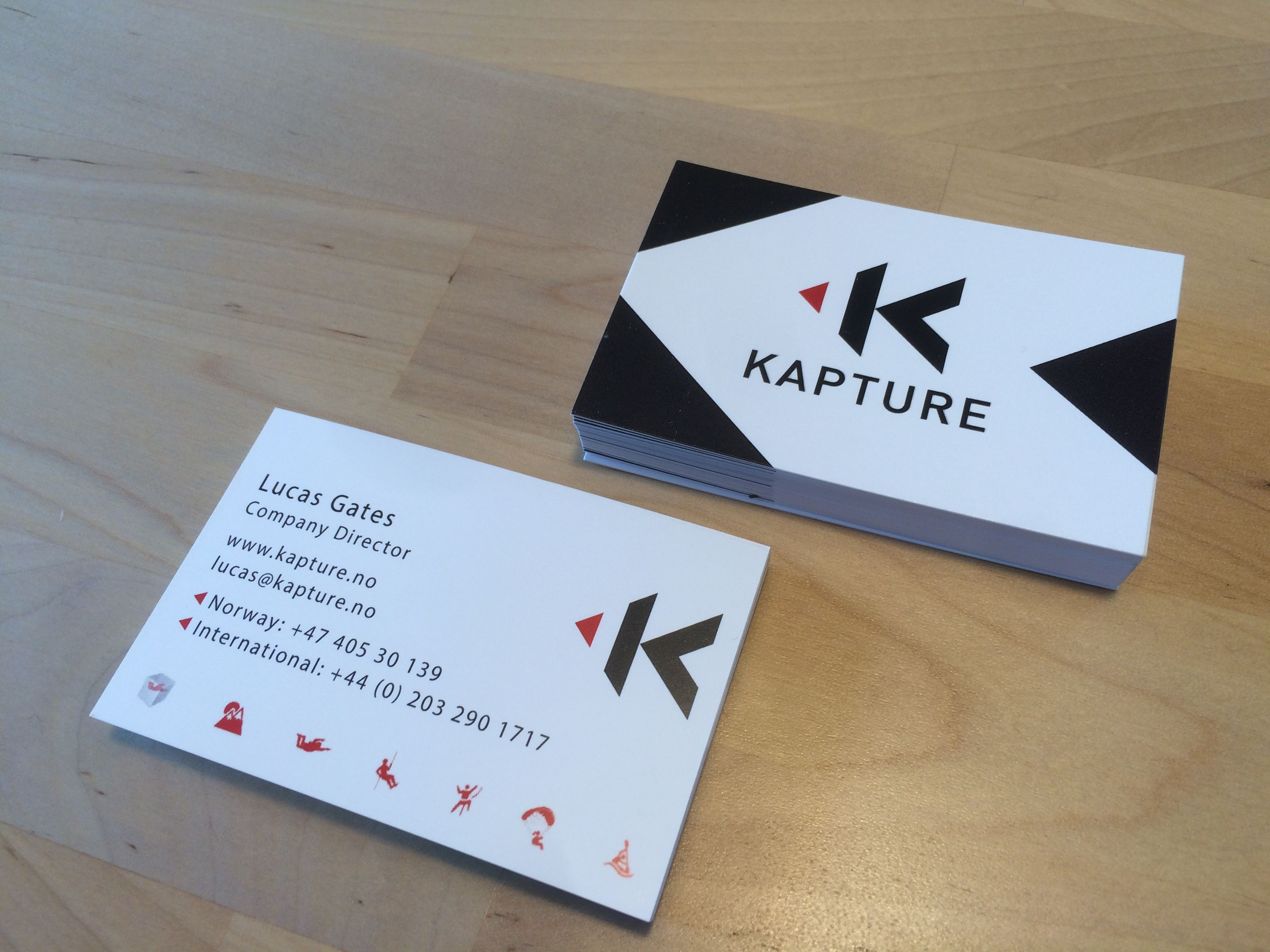 Custom business cards for \'Kapture\'. Norway. By Brandish Graphics ...
