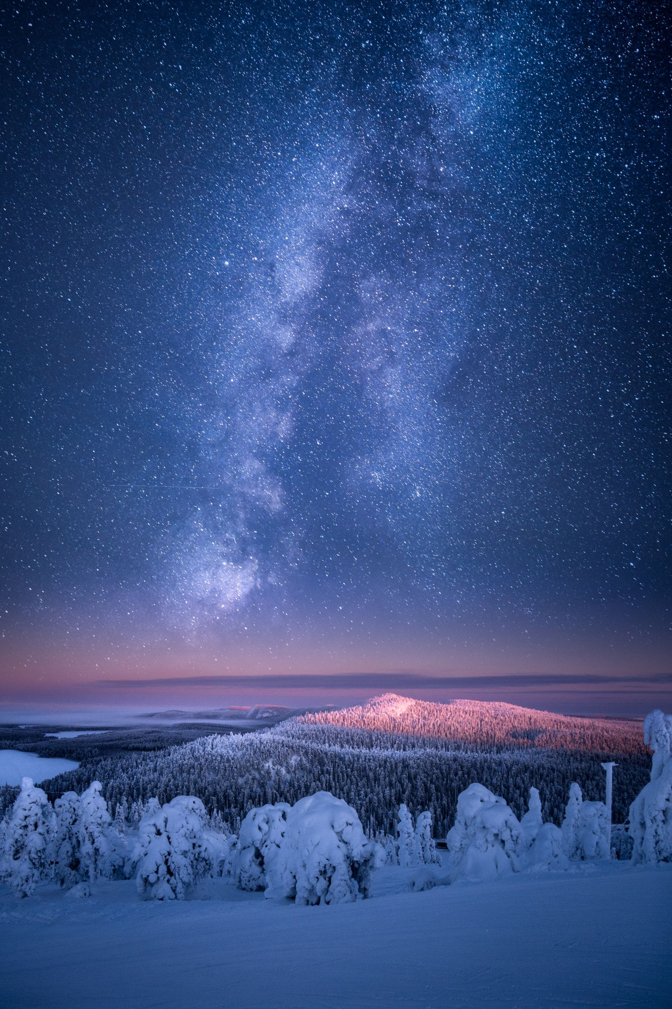 Keeping on Dreaming - This beautiful landscape was shot couple of winters back at Ruka Ski Resort in Kuusamo, Finland. I've added in post processing one of my newest milky way shots which are pretty good quality this time. I'm quite happy with the result. I hope you like it!! =D