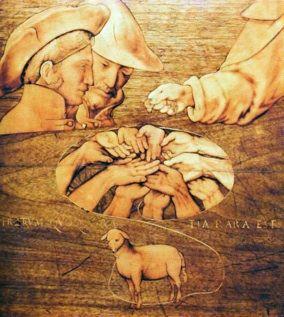 Lorenzo Lotto, Particolare del coperto della tarsia della Chiesa di Santa Maria Maggiore a Bergamo, nella quale compare, assieme a Giovan Francesco Capoferri, Lorenzo Lotto, ritratto con un largo cappello in testa (c. 1526-1527)