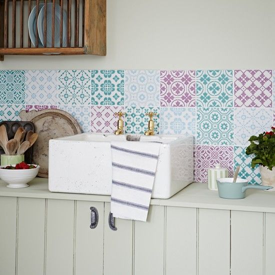 Decorating With Autumn Pastels Shabby Chic Kitchen Patchwork Tiles Diy Kitchen Decor
