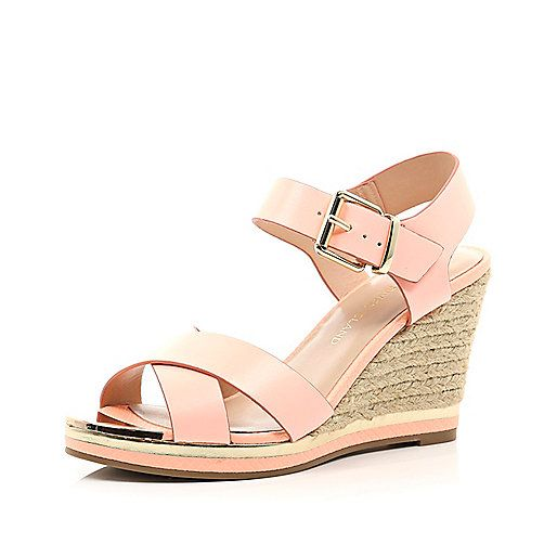 Coral cross strap raffia heel wedge - wedges - shoes / boots - women