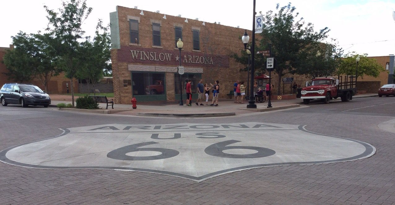 Standing on the corner in Winslow, Arizona! Route 66!