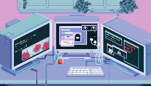 A pixelated image of three computers with pastel colors.