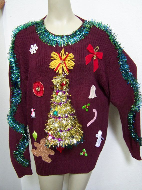 XL Ugly Christmas Sweater Lights Up Tree Angel by tstreasures17