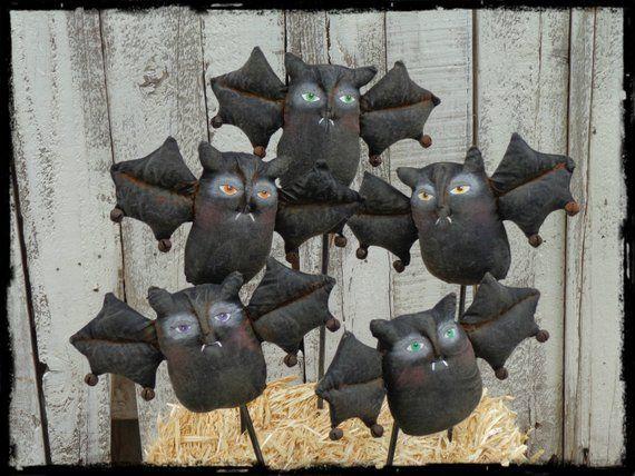 Black Bat Ornaments Primitive Halloween Folk Art Halloween ...