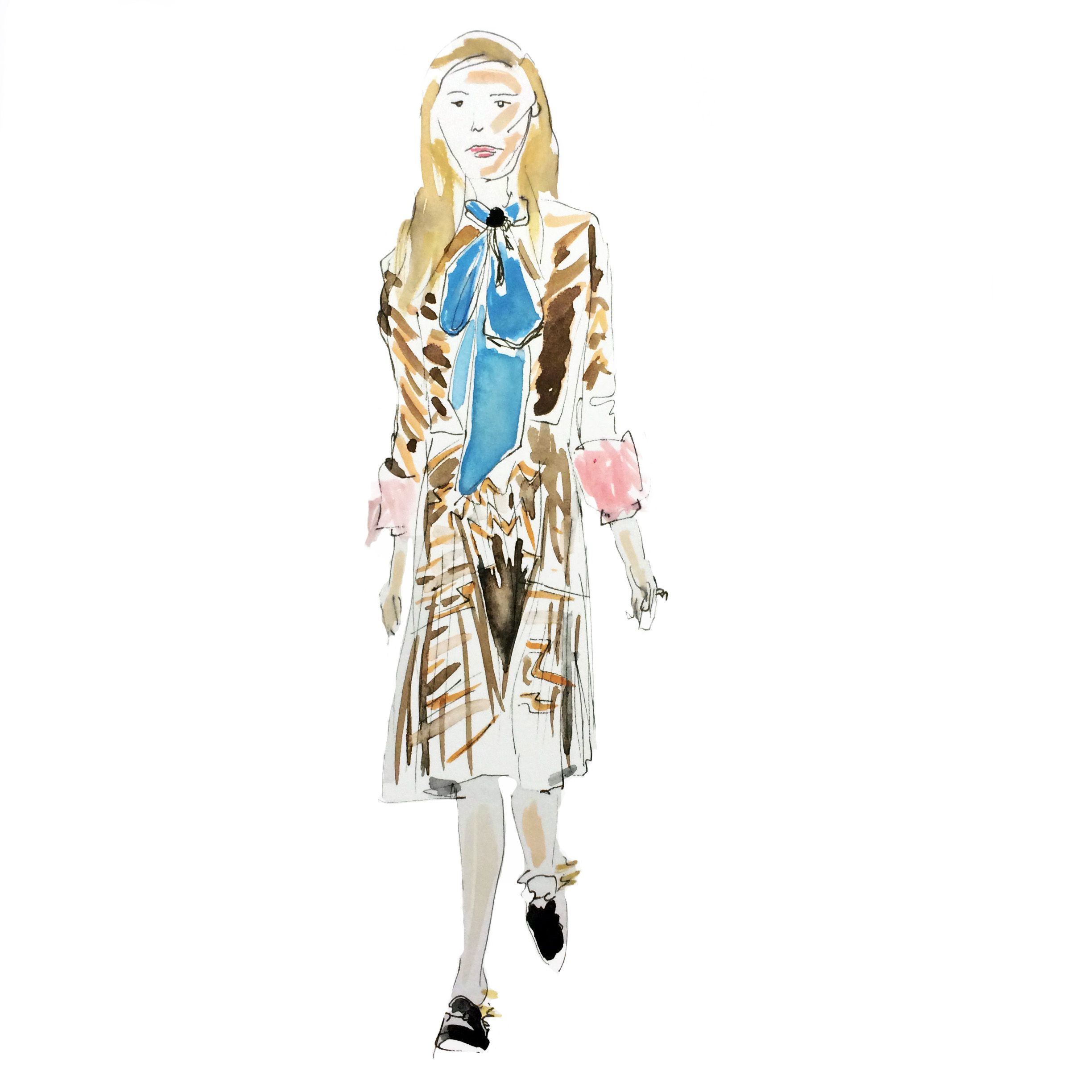 Gucci, Autumn/Winter 2015-16, Ready-To-Wear. Illustration by Alexandra Constantine.