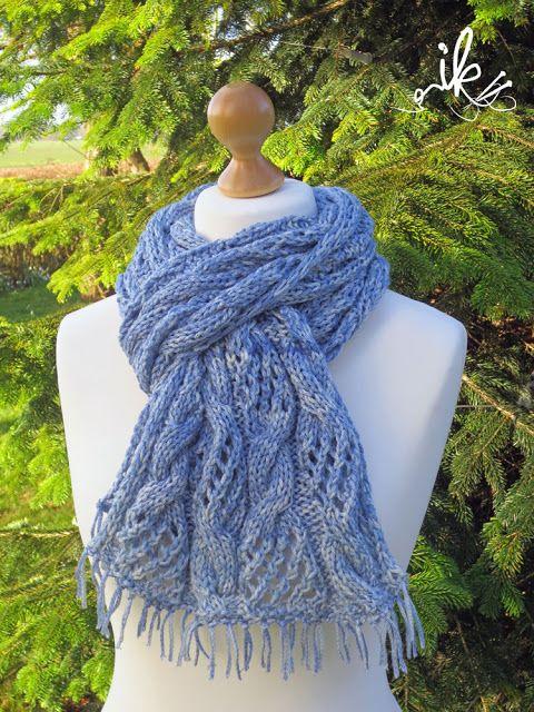 Schal mit Lace- und Zopfmuster stricken | Strickanleitungen ...
