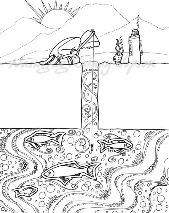 Ice Fishing hand drawn Alaska Native coloring page download
