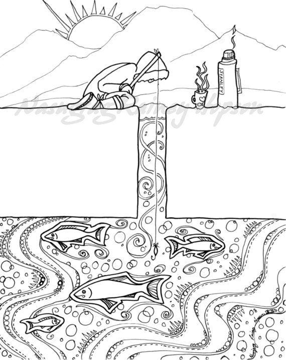 Alaska Native inupiaq Eskimo hand drawn coloring page for