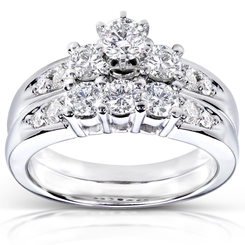 Annello by kobelli k gold ct tdw round diamond wedding ring set