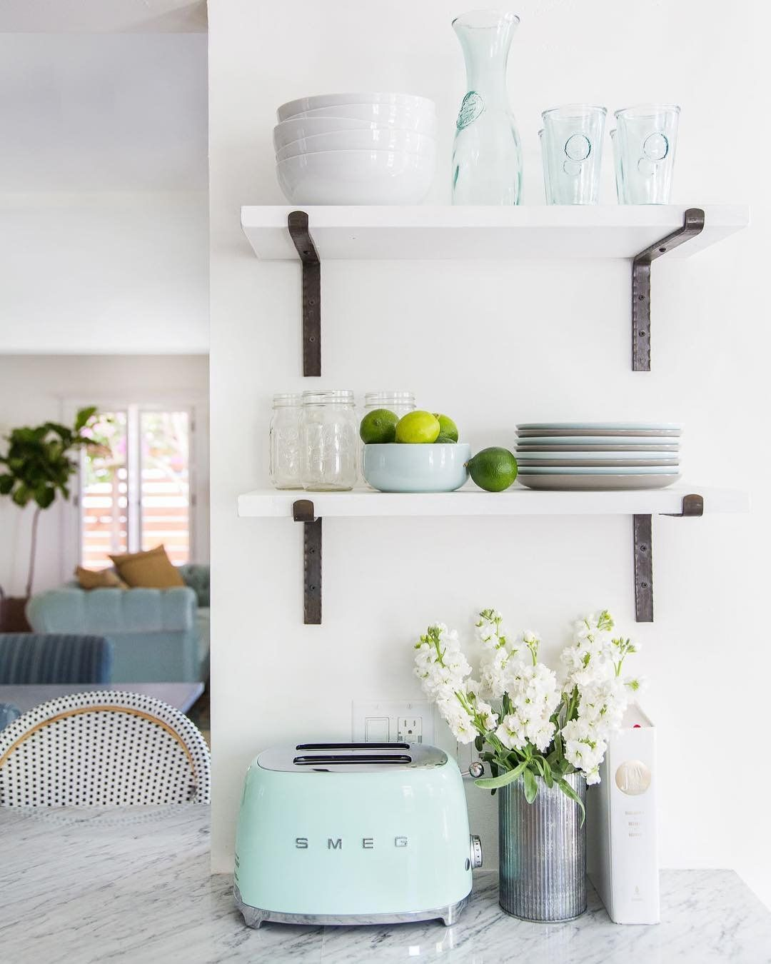 Download Wallpaper White Kitchen Shelves With Black Brackets