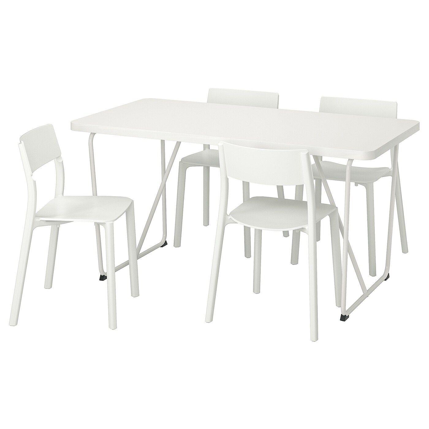 Ikea Eettafel 4 Stoelen.Rydeback Backaryd Janinge Tafel En 4 Stoelen Wit Wit 150 Cm
