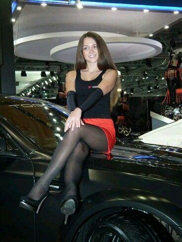 Short Skirt Black Pantyhose In Car