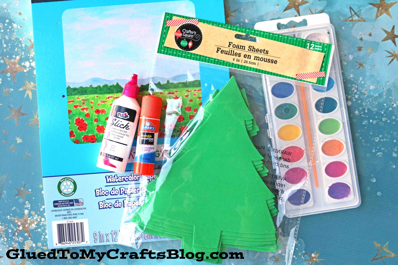 Watercolor Christmas Tree Scene  Kid Craft