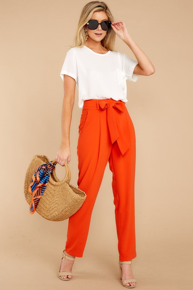 Trendy Orange Straight Leg Pants High Waist Trousers Bottoms 40 Red Dress Boutique Red Pants Outfit Orange Pants Outfit Orange Outfit [ 1200 x 800 Pixel ]