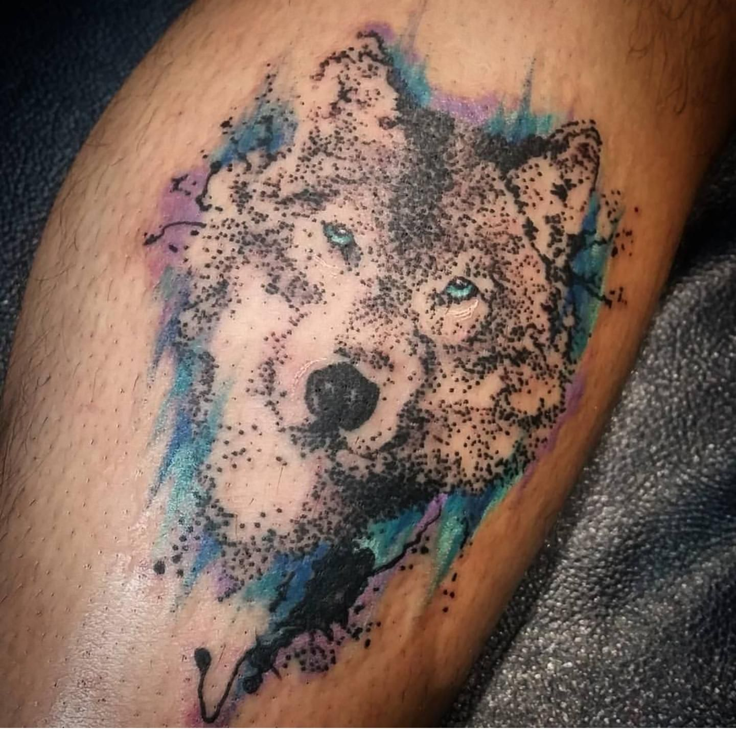 Pointilism tattoo by Dan Noyes from Studio 4 in St. Catherine's.