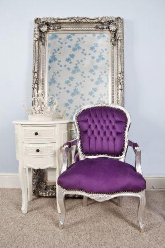 Purple Velvet Louis Style Salon Chair / Vintage Style Commercial Chair    EBay