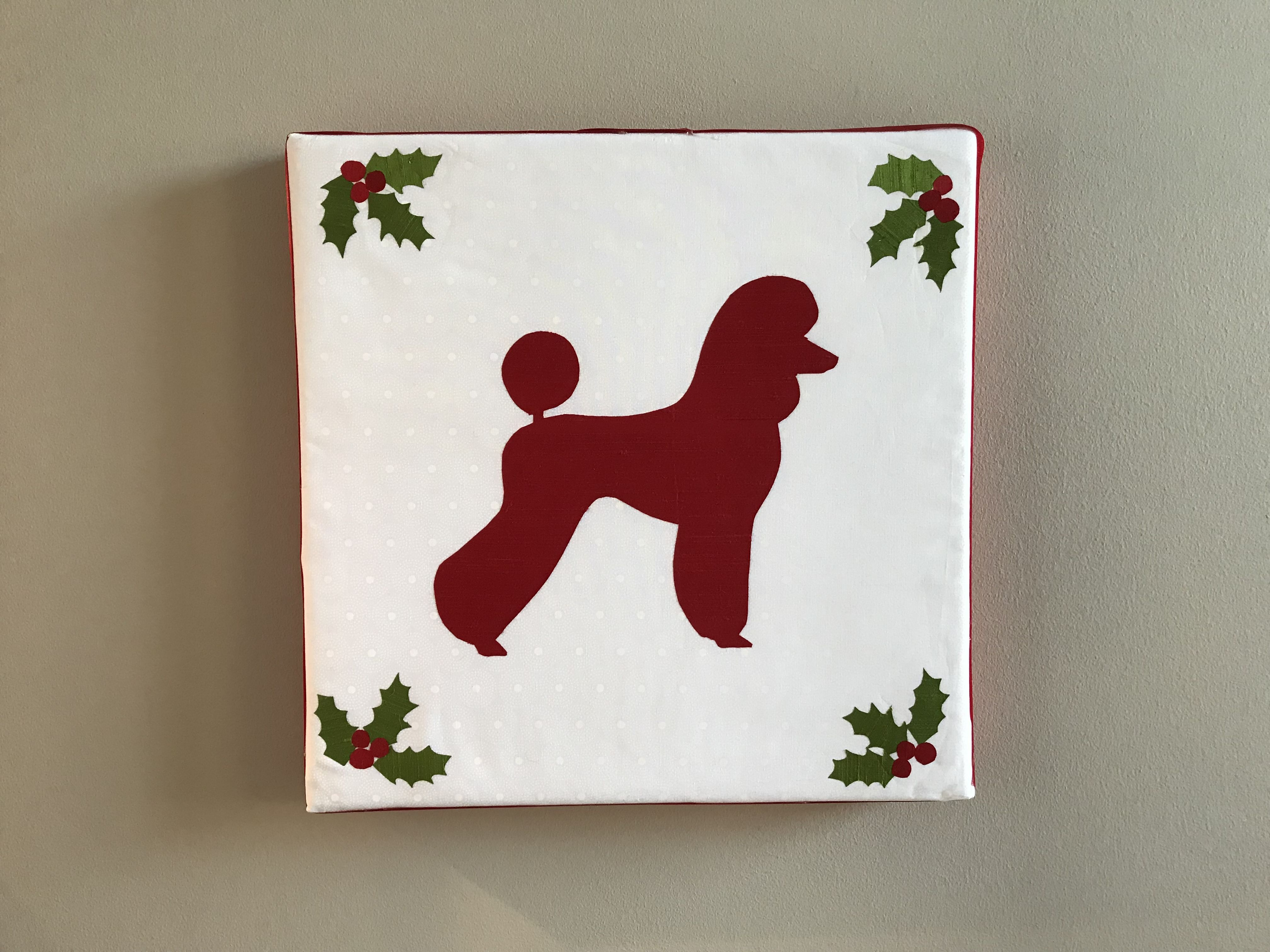 Poodle Silhouette In Red Silk On White On White Cotton Stretched Over Batting And Art Canvas For Simple Holiday Decor Poodle Simple Holiday Decor Doggy