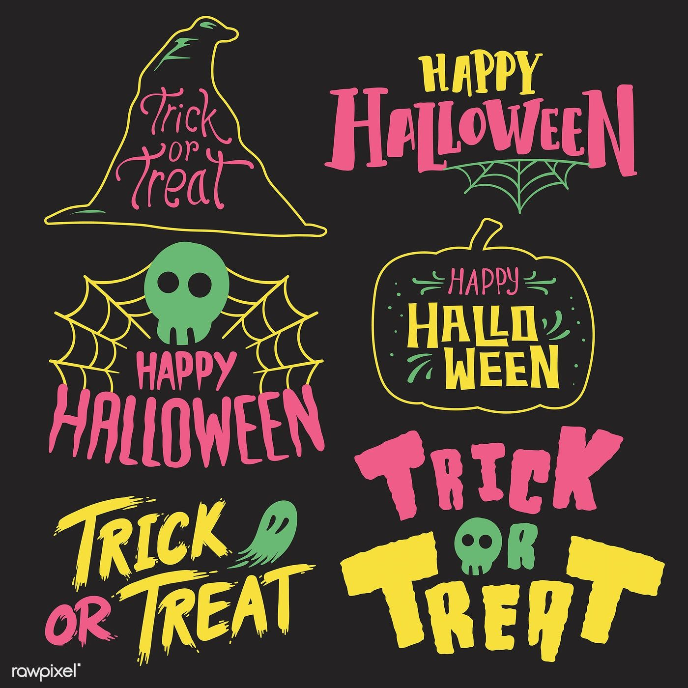 Set of Happy Halloween vectors free image by rawpixel