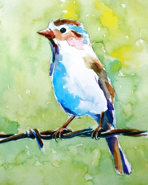 Original Painting Of A Little Bird On A Wire Fence Beachy Art