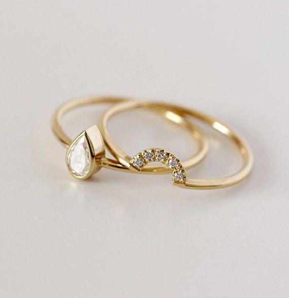 pear diamond engagement ring bridal wedding ring set engagement ring set solitaire pear cut diamond ring 02 carat pear diamond ring - Etsy Wedding Rings