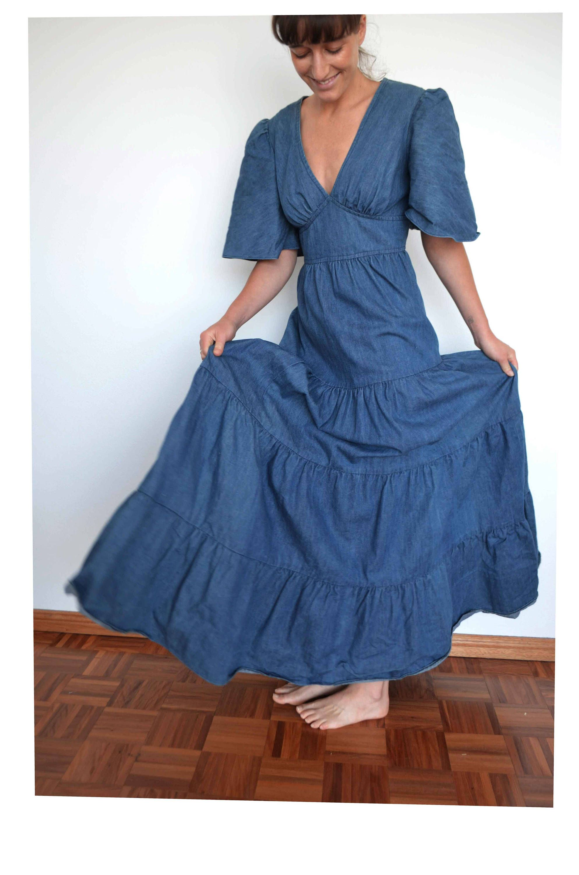 Long s vintage denim maxi with ruffles low cut huge skirt by