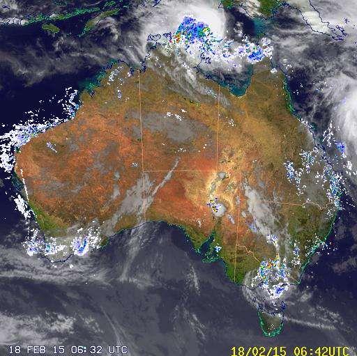 National Radar image:     07:58 UTC  Wed 18 Feb 2015