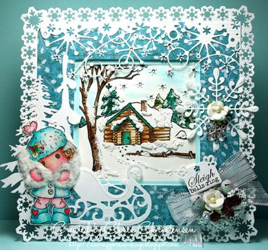 This card, featuring It's Cold Outside Tilda, was made for a snowflake challenge. http://ascrappersmusings.blogspot.com/2014/12/its-snowflake-challenge-at-addicted-to.html