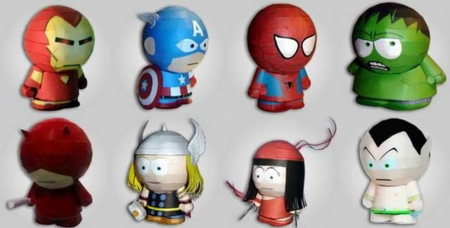 marvel heroes paper toys in south park style by paper inside by