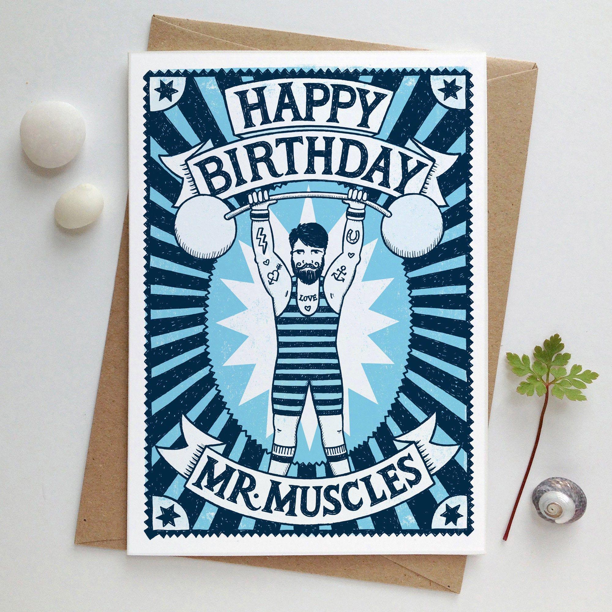 Muscle Man Birthday Card Etsy Birthday Cards For Men Birthday Cards Cards For Boyfriend
