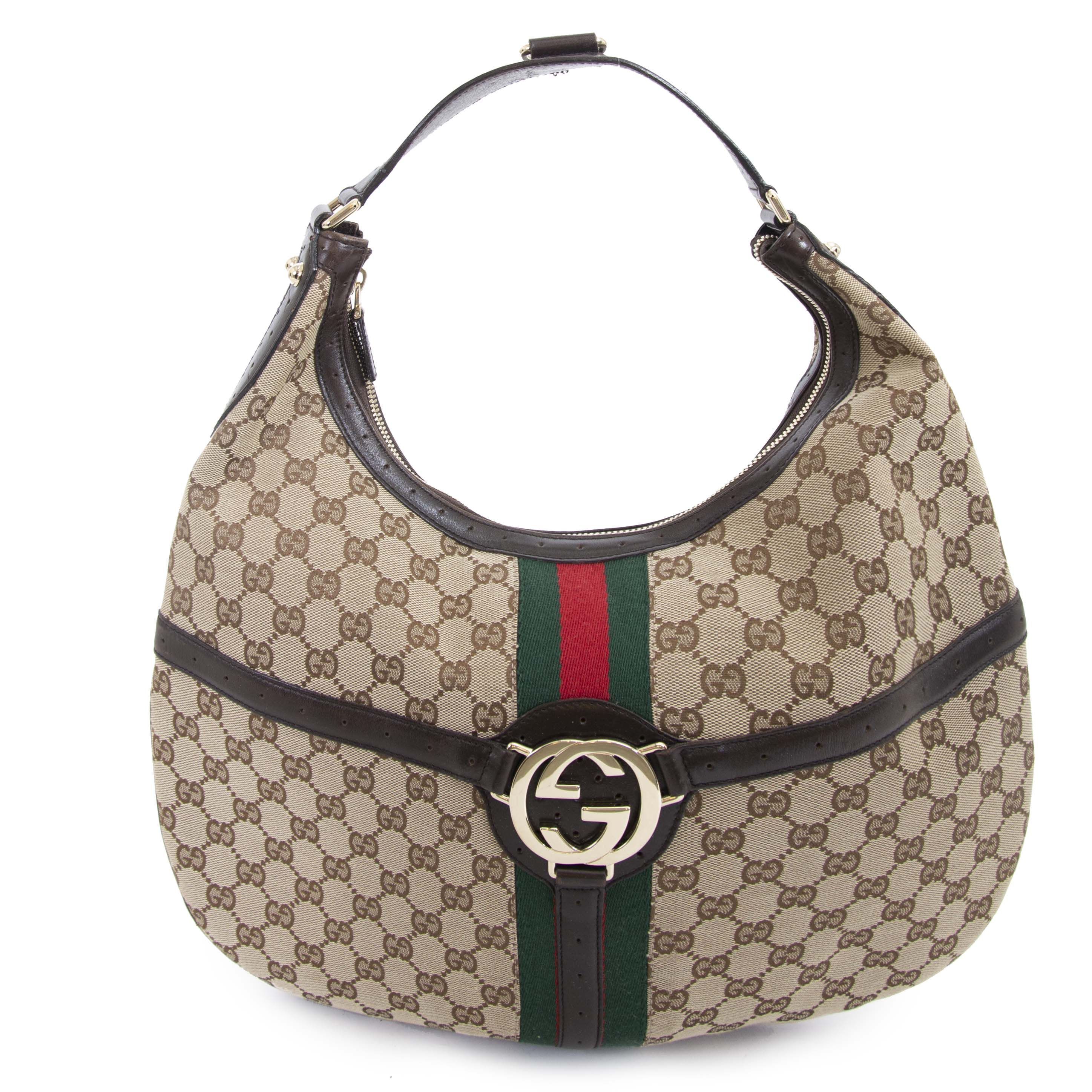 ee4fbd806 Labellov Gucci Canvas Web GG Reins Hobo Brown Bag ○ Buy and Sell Authentic  Luxury