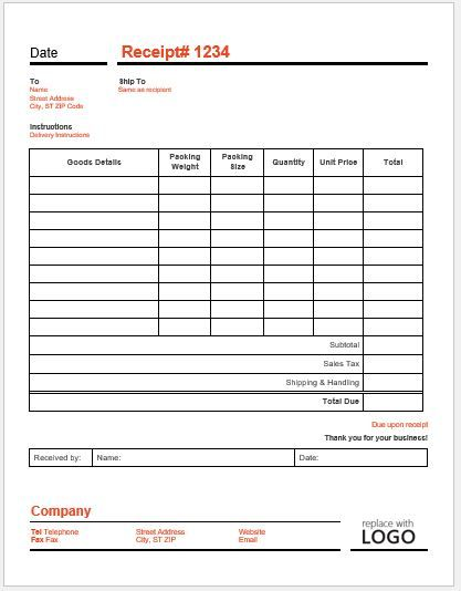 Delivery Receipt Template Receipt Template Templates Receipt