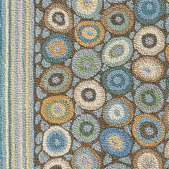 Homefires Indoor Outdoor Hooked Turquoise White Indoor: Wool Hooked Rug, Coins