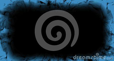 Abstract Blue Smoke Flames Frame On Isolated A Black