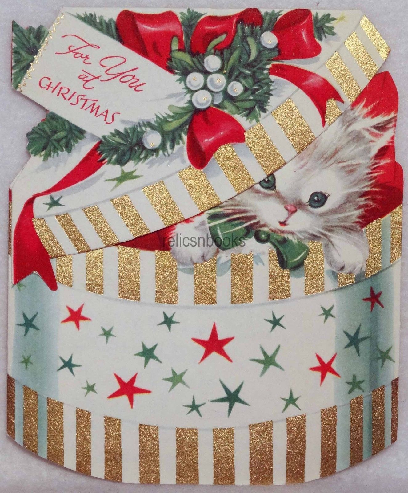 1810 50s sweet kitty cat in the hat box vintage christmas card 1810 50s sweet kitty cat in the hat box vintage christmas card greeting kristyandbryce Choice Image