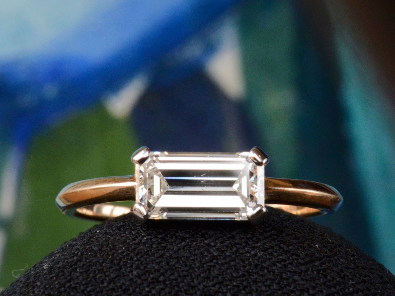 EB East West 1 33ct Emerald Cut Diamond Engagement Ring