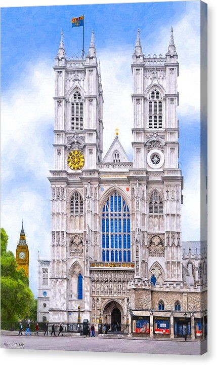 London Canvas Print featuring Graphic Westminster Abbey by Mark E Tisdale