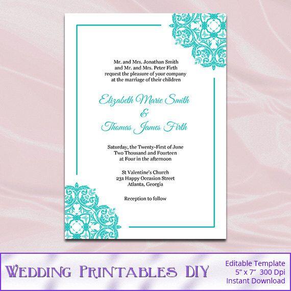 Tiffany Blue Wedding Invitations Templates - Diy Printable Invite ...