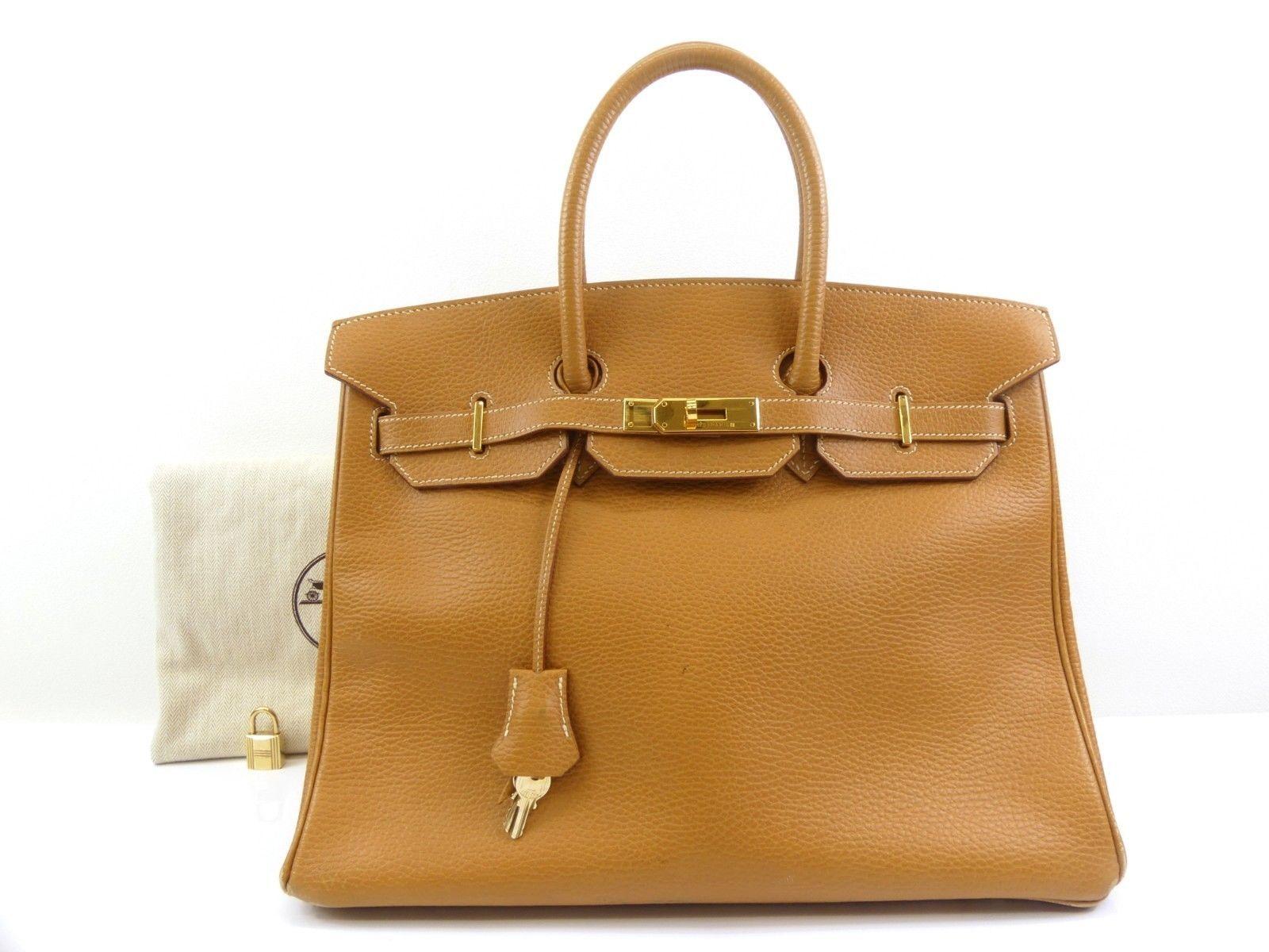 bcb00073066 r414 Auth HERMES Birkin 35 Natural Sable Ardennes Leather Hand Bag □F 2002