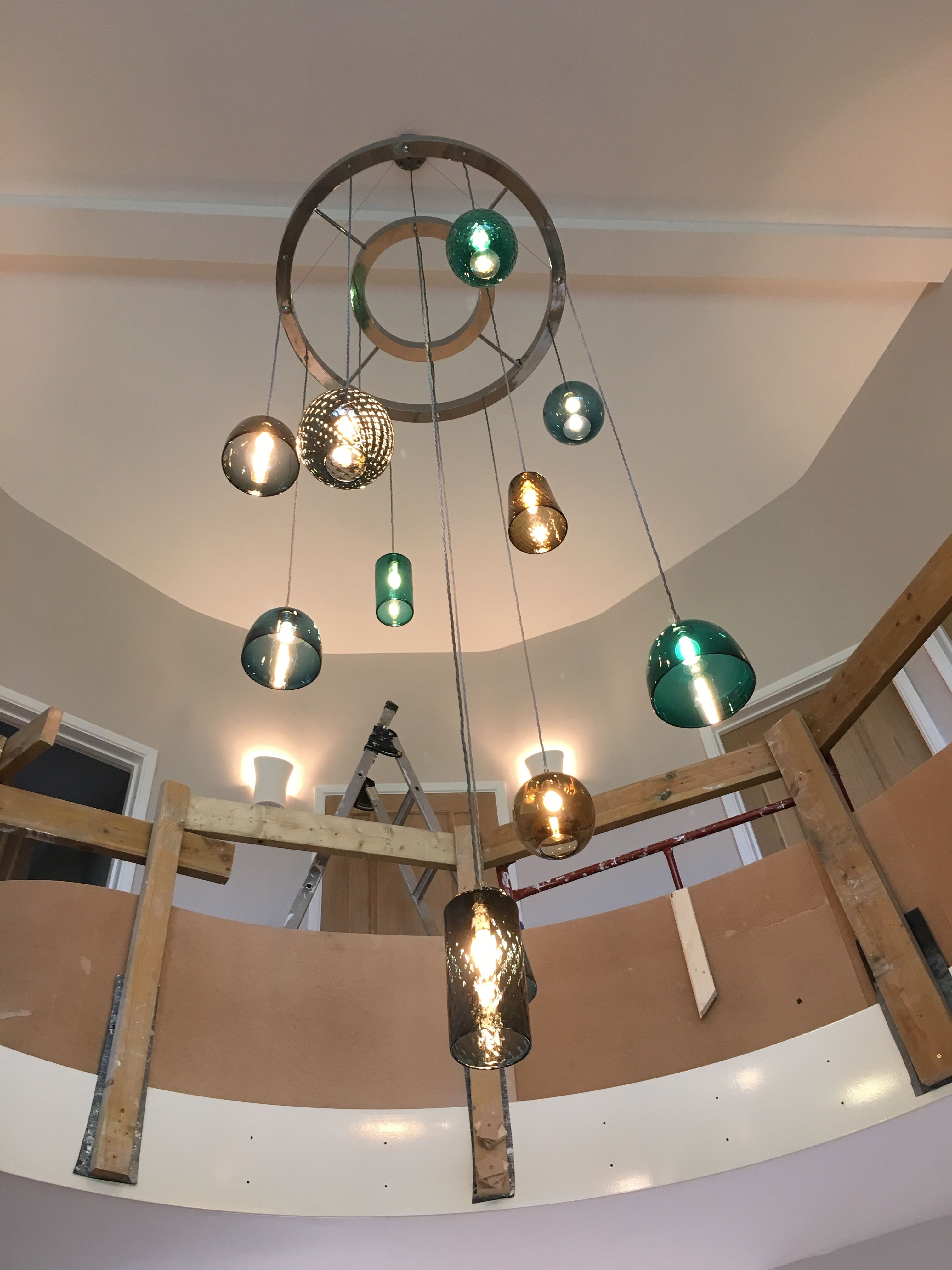multiple pendant lighting fixtures. Installing Large Ceiling Plate With Multiple Pendant Lights In Stairwell - Pick-n-mix Lighting Fixtures G