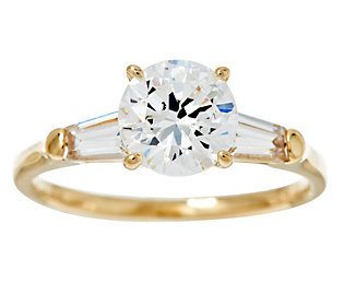 Diamonique 100 Facet 2 00 Cttw Solitaire Ring 14k Gold With Images White Gold Engagement Rings Womens Engagement Rings White Engagement Ring