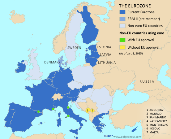 Map of the eurozone euro area showing which countries use the map of the eurozone euro area showing which countries use the euro as their currency includes members pre members erm ii eu non members using the gumiabroncs Choice Image