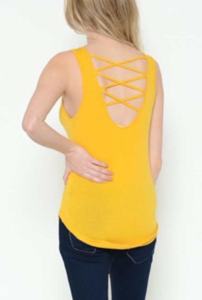 Back Strap Tank Top, MUSTARD YELLOW