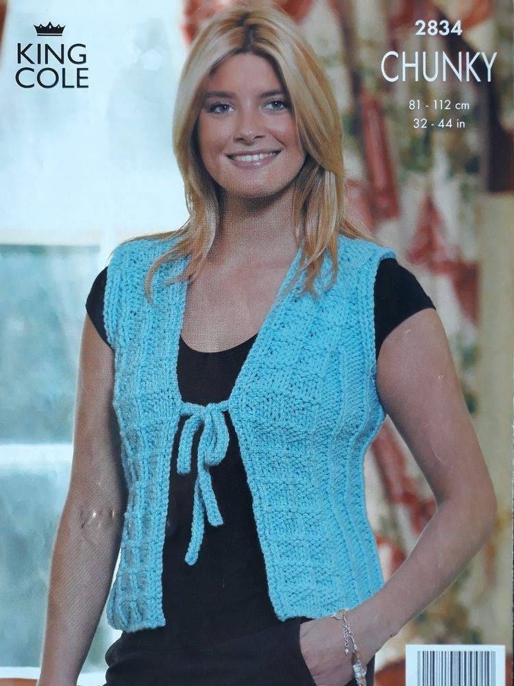 15100af7b Knitting pattern King Cole 2834 ladies chunky tie front cardigan   gilet   KingCole
