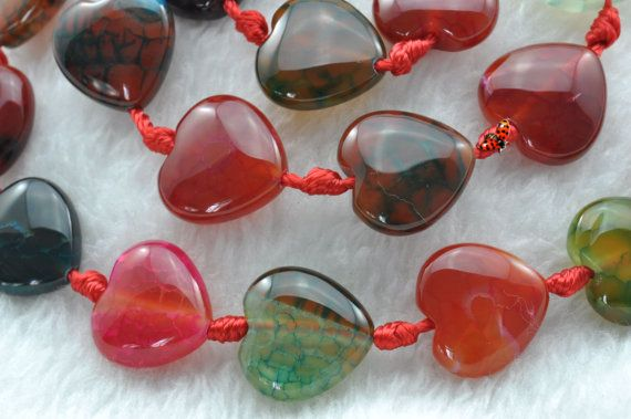 Fire Agate smooth heart shape beads 14x14mm21 pcs by HandBeads