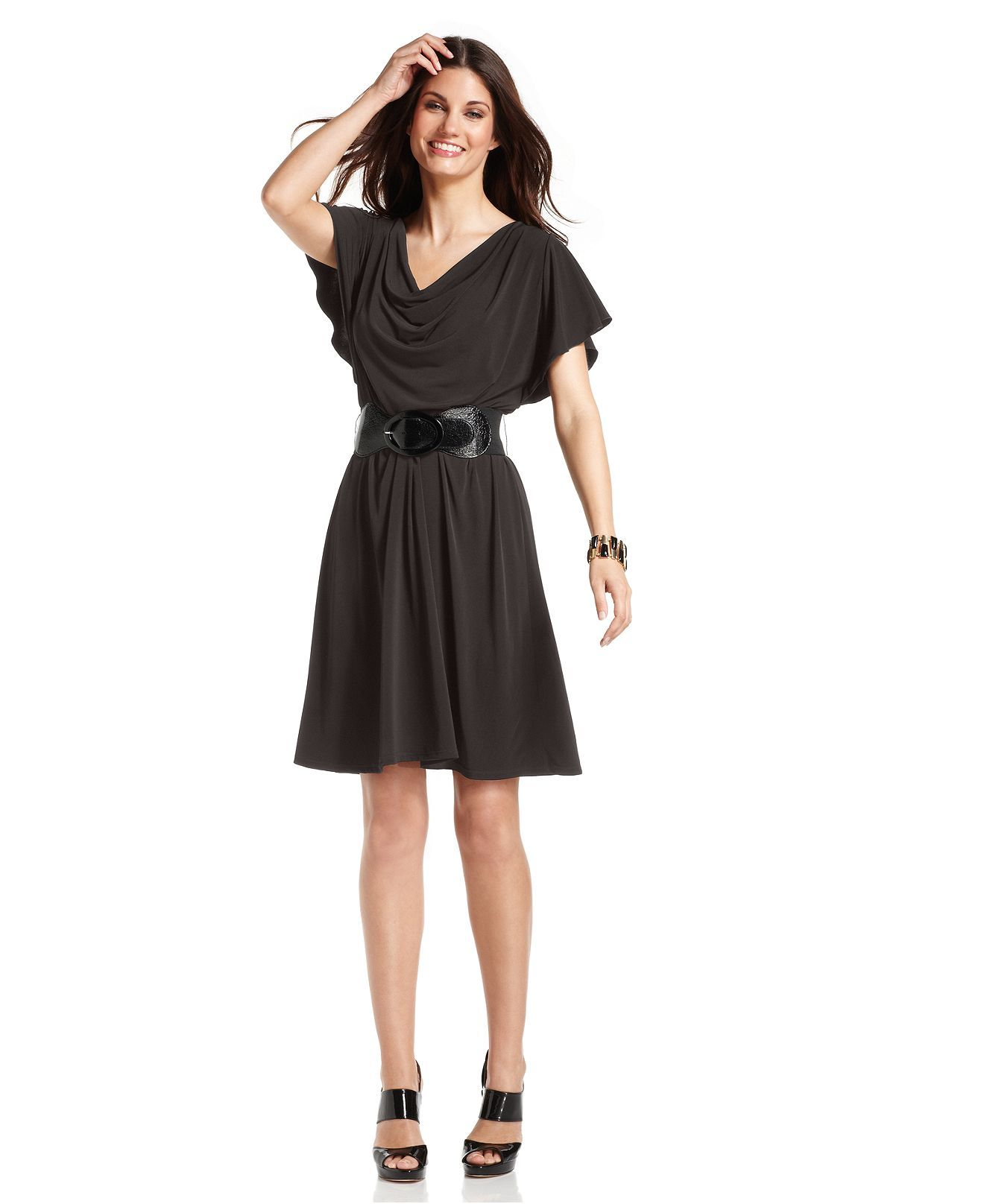 Agb dress flutter sleeve cowl neck belted a line womens dresses agb dress flutter sleeve cowl neck belted a line womens dresses ombrellifo Images