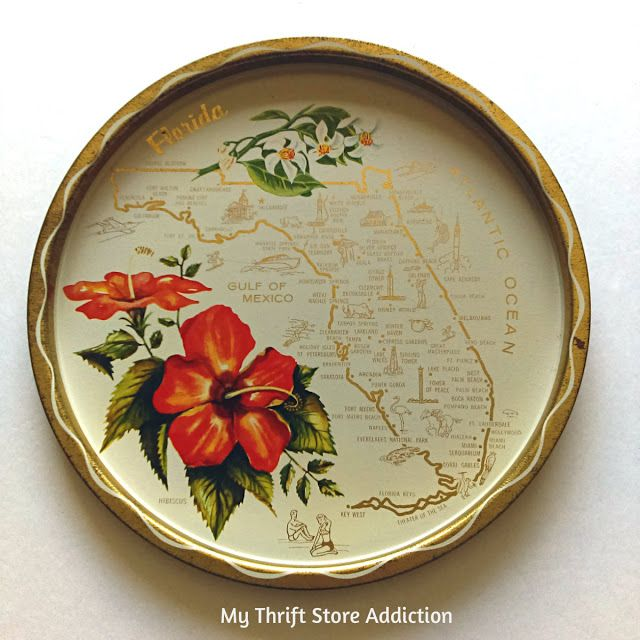 Vintage Florida State Souvenir Tray available at Etsy Thrift Store Addiction!
